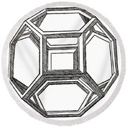 Truncated Octahedron With Open Faces Round Beach Towel