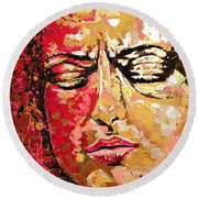 Truth Is Eternal, Asian Painting Round Beach Towel