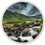 Tryfan And Ogwen Lake Round Beach Towel