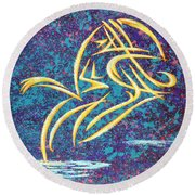 Trying New Waters Round Beach Towel