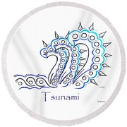 Tsunami Round Beach Towel