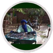 Tuareg Man Selling Jewelry Round Beach Towel