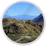 Tucson Mountain Ranges Round Beach Towel