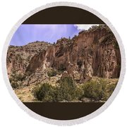 Tuff Cliffs Round Beach Towel