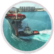 Tugboat At Freeport, Grand Bahamas Harbor Round Beach Towel