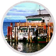 Tugboat At Rest Round Beach Towel
