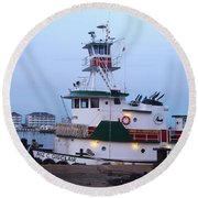 Tugboat At Twilight Round Beach Towel