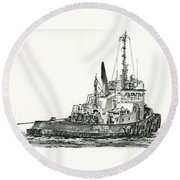 Tugboat David Foss Round Beach Towel