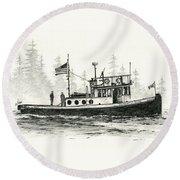 Tugboat Henrietta Foss Round Beach Towel