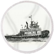 Tugboat Shelley Foss Round Beach Towel
