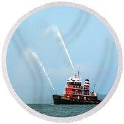 Tugboat's Welcome Salute Round Beach Towel