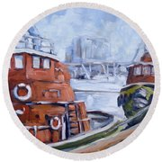 Tugs In Harbour Round Beach Towel