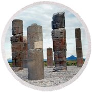 Tula: Toltec Monuments Round Beach Towel