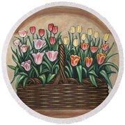 Tulip Basket Round Beach Towel