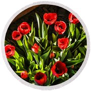 Tulip Beauties Round Beach Towel