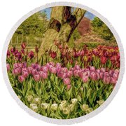 Tulip Bed At Longwood Gardens In Pa Round Beach Towel