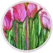 Tulip Bloomies 2 - Pink Round Beach Towel