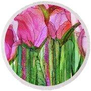 Tulip Bloomies 3 - Pink Round Beach Towel