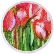 Tulip Bloomies 4 - Red Round Beach Towel