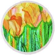Tulip Bloomies 4 - Yellow Round Beach Towel
