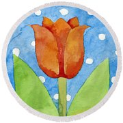 Tulip Blue White Spot Background Round Beach Towel