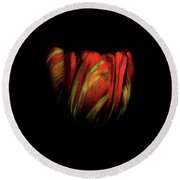 Tulip Flower On Black Background Abstract Round Beach Towel