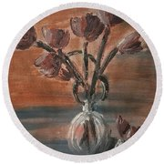 Tulip Flowers Bouquet In Two Round Water Filled Small Globe Shaped Vases On A Table Still Life Of Bo Round Beach Towel