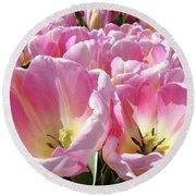 Tulip Flowers Garden Art Pink Tulips Baslee Troutman Round Beach Towel