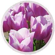 Tulip Garden Flowers Purple Lavender Pastel Art Baslee Troutman Round Beach Towel