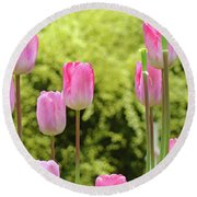 Tulip Garden Landscape Art Prints Pink Tulips Floral Baslee Troutman Round Beach Towel