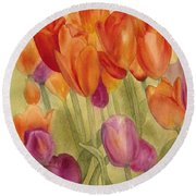 Tulip Glory Round Beach Towel