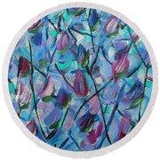 Tulip Harmony- Abstract Art Round Beach Towel