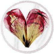 Tulip Heart Round Beach Towel