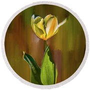 Tulip White Yellow Petals #h5 Round Beach Towel