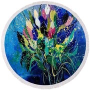 Tulips 45 Round Beach Towel
