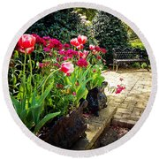 Tulips And Bench Round Beach Towel