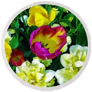 Tulips And Flowers  Round Beach Towel