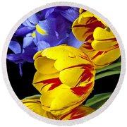 Tulips And Iris Round Beach Towel