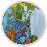 Tulips And Iris In A Japanese Vase, With Fruit And Textiles Round Beach Towel