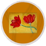 Tulips And Love Happy Together Round Beach Towel