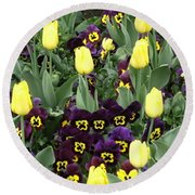 Tulips And Pansies Round Beach Towel