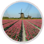 Tulips And Windmills In Holland Round Beach Towel