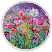 Tulips Are Magic In The Night Round Beach Towel