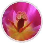 Tulips Artwork Pink Purple Tuli Flower Art Prints Spring Garden Nature Round Beach Towel