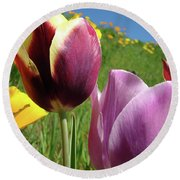 Tulips Artwork Tulip Flowers Spring Meadow Nature Art Prints Round Beach Towel