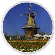 Tulips At The Windmill Round Beach Towel