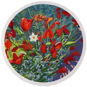 Tulips By The Gate Round Beach Towel