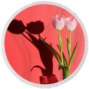 Tulips Casting Shadows Round Beach Towel
