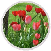 Tulips Flowers Art Prints Spring Tulip Flower Artwork Nature Art Round Beach Towel