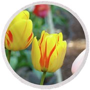 Tulips Garden Art Prints Yellow Red Tulip Flowers Baslee Troutman Round Beach Towel
